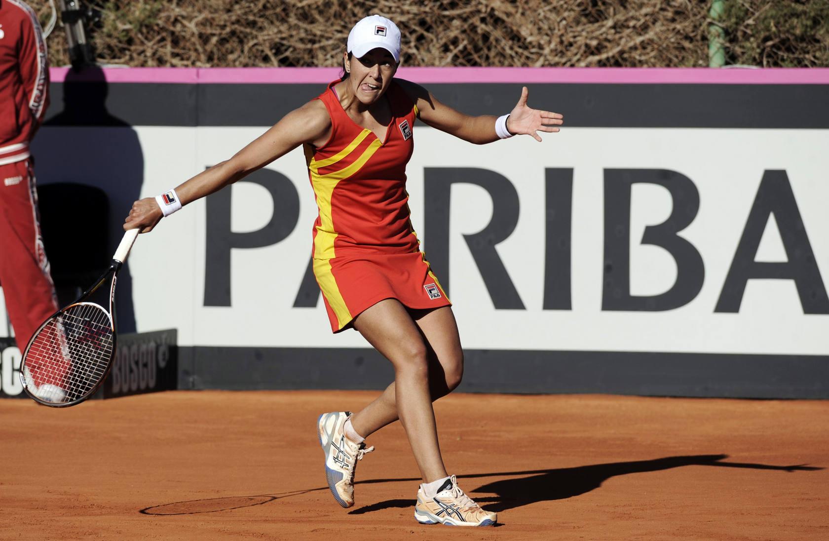 Segundo partido de la eliminatoria de la Copa Federación de Tenis en Alicante